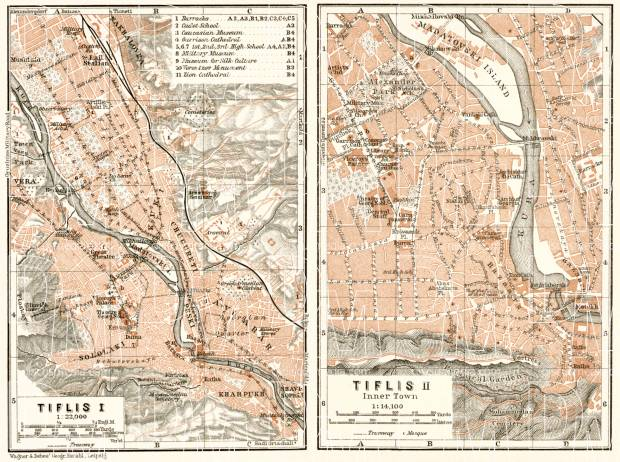 Tiflis (თბილისი, Tbilisi) city map, 1914. Use the zooming tool to explore in higher level of detail. Obtain as a quality print or high resolution image