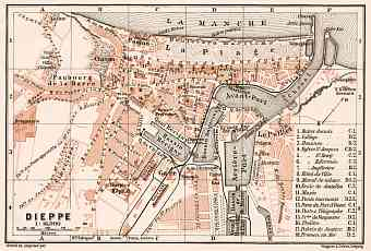 Dieppe city map, 1909