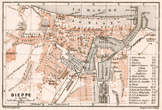 Dieppe city map, 1909. Use the zooming tool to explore in higher level of detail. Obtain as a quality print or high resolution image