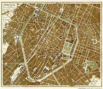 Brussels (Брюссель, Brussel, Bruxelles), city map (Legend in Russian), 1903
