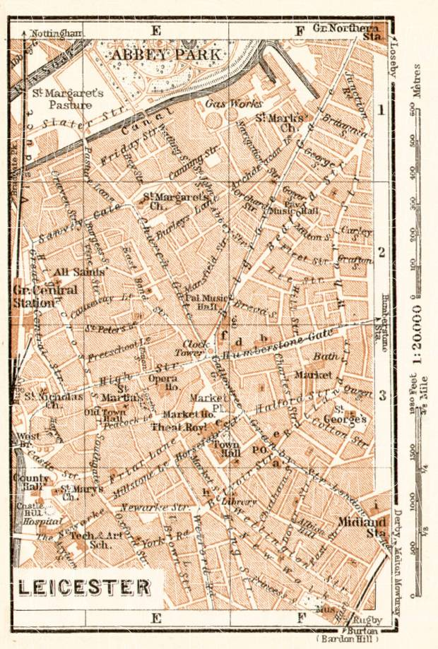 Old map of Leicester in 1906 Buy vintage map replica poster print