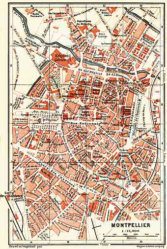 Montpellier city map, 1885