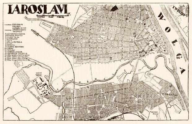 Yaroslavl (Ярославль) city map, 1928. Use the zooming tool to explore in higher level of detail. Obtain as a quality print or high resolution image