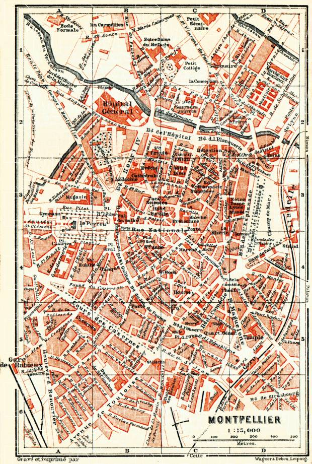 Montpellier city map, 1885. Use the zooming tool to explore in higher level of detail. Obtain as a quality print or high resolution image