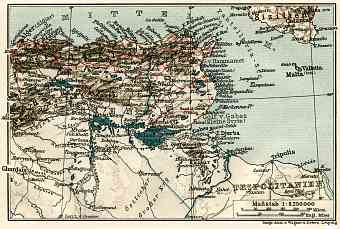 Tunisia on the map of the northastern part of the French Sudan, 1909