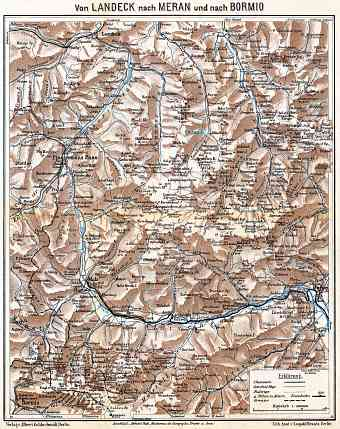 Austria on the map of East Alps between Landeck and Meran (Merano) - Bormio, 1911