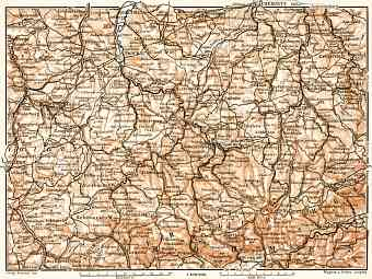 North Bohemia on the map of Erzgebirge (Ore) Mountains or Krušné hory, 1911