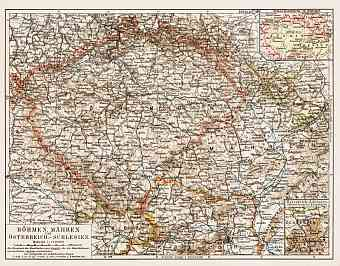 Czech Republic on the general map of Bohemia, Moravia and Austrian Silesia, 1903