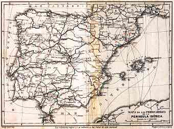 Portugal on the railway map of Iberian Peninsula, 1929