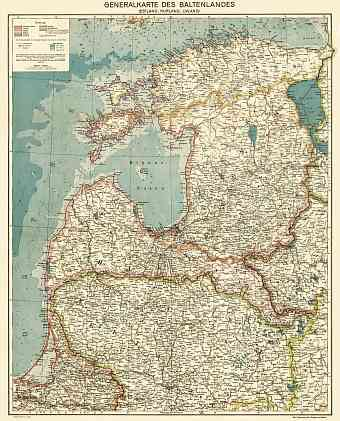 Latvia on the general map of the Baltics (Generalkarte des Baltenlandes), about 1917