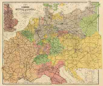 Hungary on the railway map of the central Europe, 1884