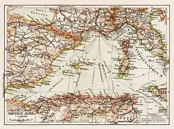 Italy on the map of mediterranean marine routes between Marseille and Algiers, 1913