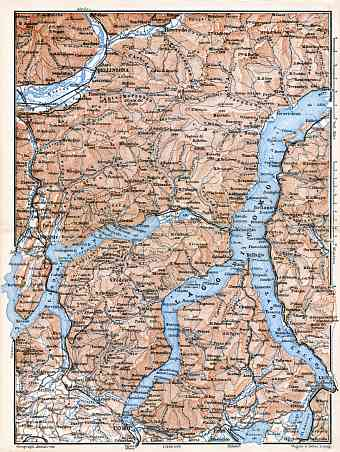 Canton Ticino on the map of lakes of Como and Lugano environs, 1897