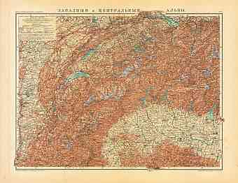 Map of the western Alpine countries (in Russian), 1910