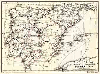 Spain of the railway map of Iberian Peninsula, 1899