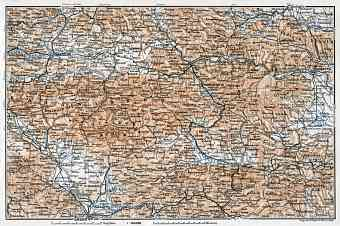 North Slovenia on the map of Karawank and Pohorje (Bacher) Mountains region, 1910