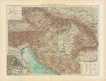 Austria-Hungary Map (in Russian), 1910