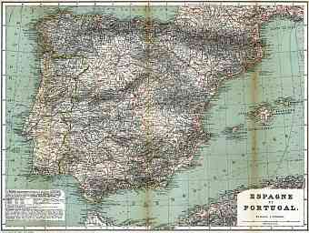 Portugal on the general map of the Iberian Peninsula (Spain and Portugal), 1899