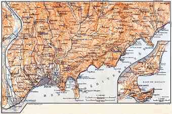 Monaco and Monte Carlo town plan on the map of Nice, Menton and environs, 1900