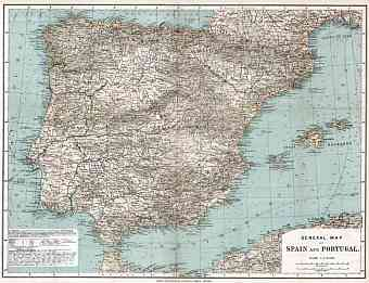 Gibraltar on the general map of the Iberian Peninsula (Spain and Portugal), 1913