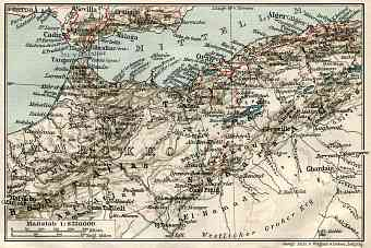 Algeria on the map of the northwestern part of the French Sudan, 1909