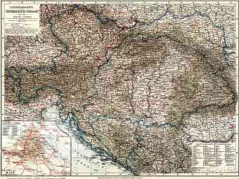 Hungary on the railway map of Austria-Hungary and surrounding states, 1913