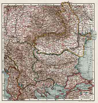 Serbia on the general map of the Balkan Countries, 1914