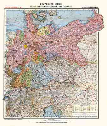 Hungary on the map of German Empire, 1903