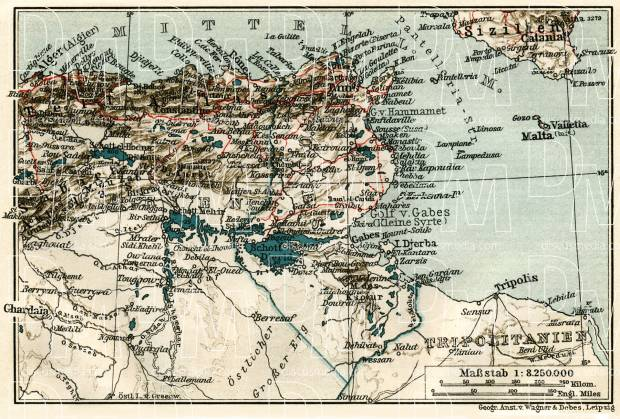 Tunisia on the map of the northastern part of the French Sudan, 1909. Use the zooming tool to explore in higher level of detail. Obtain as a quality print or high resolution image