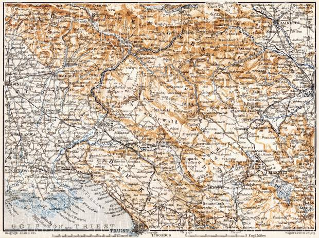 Croatia on the map of the Austrian Littoral (Österreichisches Küstenland, Adriatisches Küstenland), 1910. Use the zooming tool to explore in higher level of detail. Obtain as a quality print or high resolution image