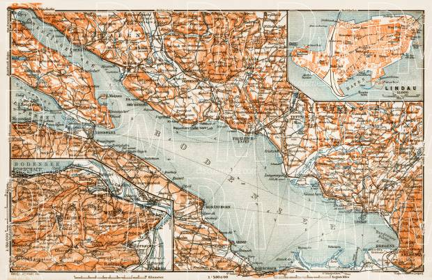 Lindau Germany Map.Old Map Of The Lake Constance Bodensee Vicinity With Lindau In