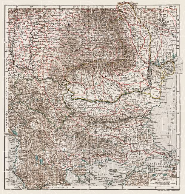 Hungary on the general map of the Balkan Countries, 1905. Use the zooming tool to explore in higher level of detail. Obtain as a quality print or high resolution image