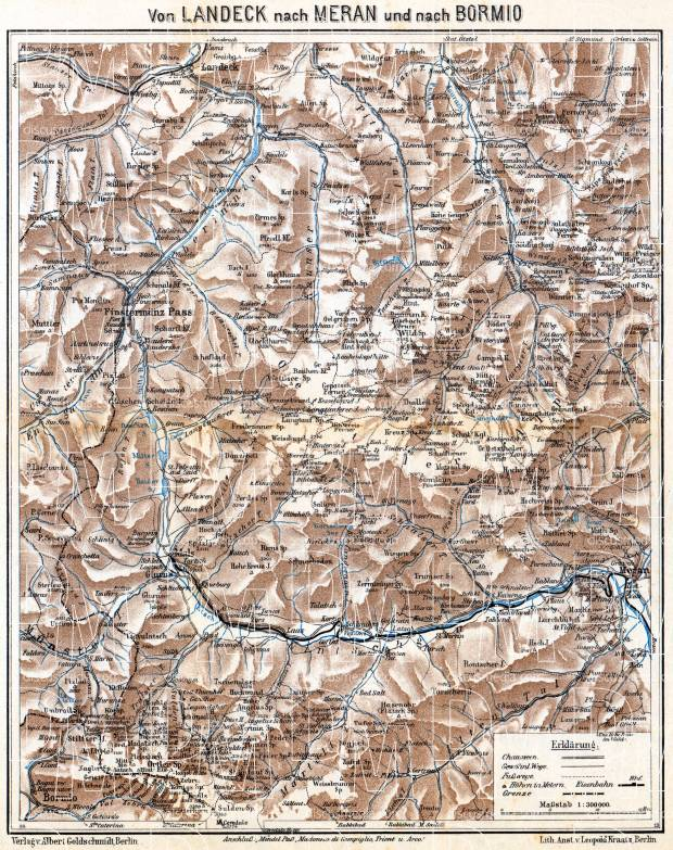 Austria on the map of East Alps between Landeck and Meran (Merano) - Bormio, 1911. Use the zooming tool to explore in higher level of detail. Obtain as a quality print or high resolution image
