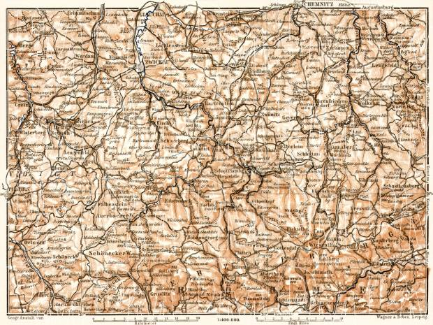 North Bohemia on the map of Erzgebirge (Ore) Mountains or Krušné hory, 1911. Use the zooming tool to explore in higher level of detail. Obtain as a quality print or high resolution image