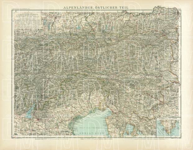 North Croatia on the map of the eastern Alpine countries, 1905. Use the zooming tool to explore in higher level of detail. Obtain as a quality print or high resolution image
