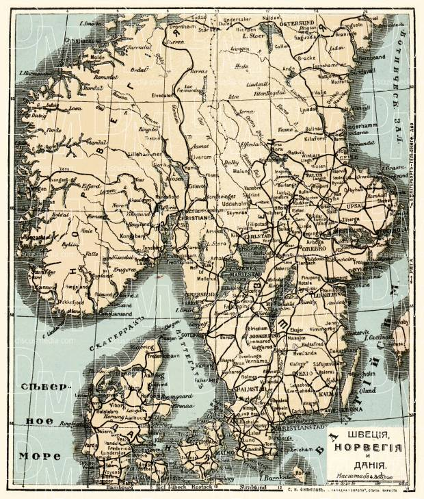 picture relating to Scandinavia Map Printable known as Norway upon the overall map of Scandinavia (Denmark, Norway and Sweden with legend in just Russian), 1900