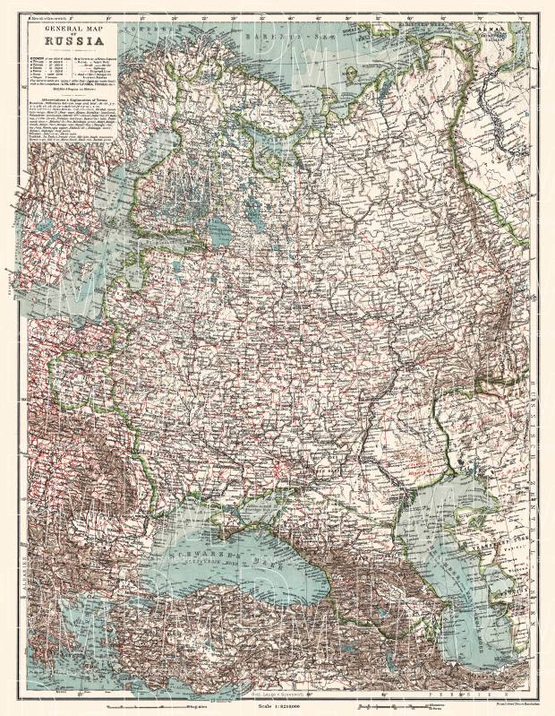 Georgia on the general map of the Russian Empire (western part), 1914. Use the zooming tool to explore in higher level of detail. Obtain as a quality print or high resolution image
