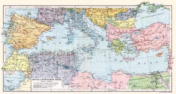Austria on the general map of the Mediterranean region, 1909. Use the zooming tool to explore in higher level of detail. Obtain as a quality print or high resolution image