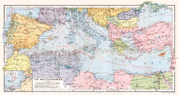 Montenegro on the map of the countries of the Mediterranean, 1911. Use the zooming tool to explore in higher level of detail. Obtain as a quality print or high resolution image