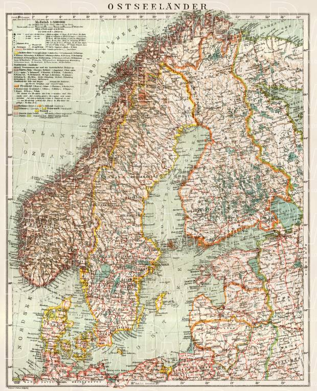 Old Map Of The Baltic Lands Ostseelander In 1929 Buy Vintage Map