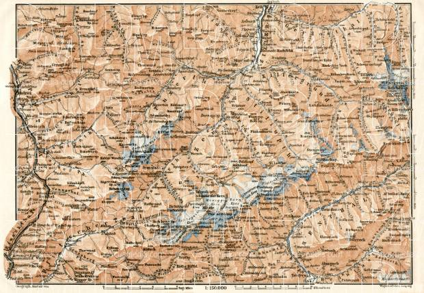Zillertal Alps (Zillertaler Alpen, Alpi Aurine) general map, 1906. Use the zooming tool to explore in higher level of detail. Obtain as a quality print or high resolution image