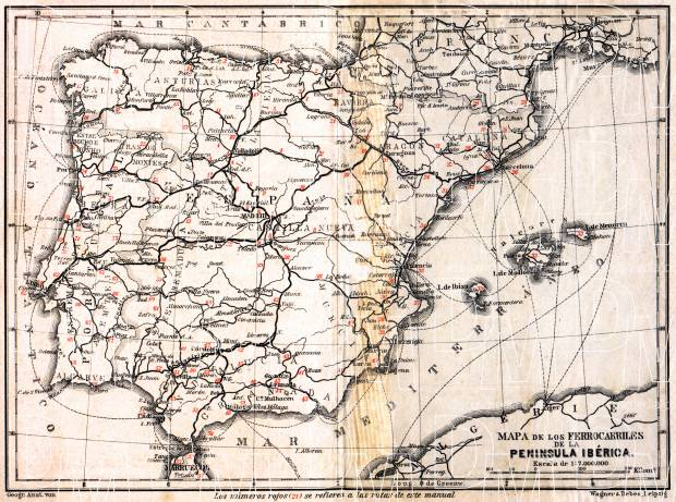 Portugal on the railway map of Iberian Peninsula, 1929. Use the zooming tool to explore in higher level of detail. Obtain as a quality print or high resolution image