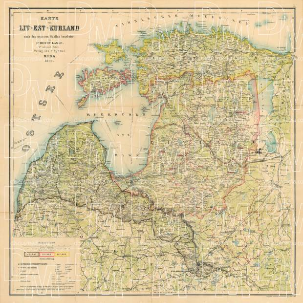 Old map of Estonia Livonia and Courland in 1898 Buy vintage map