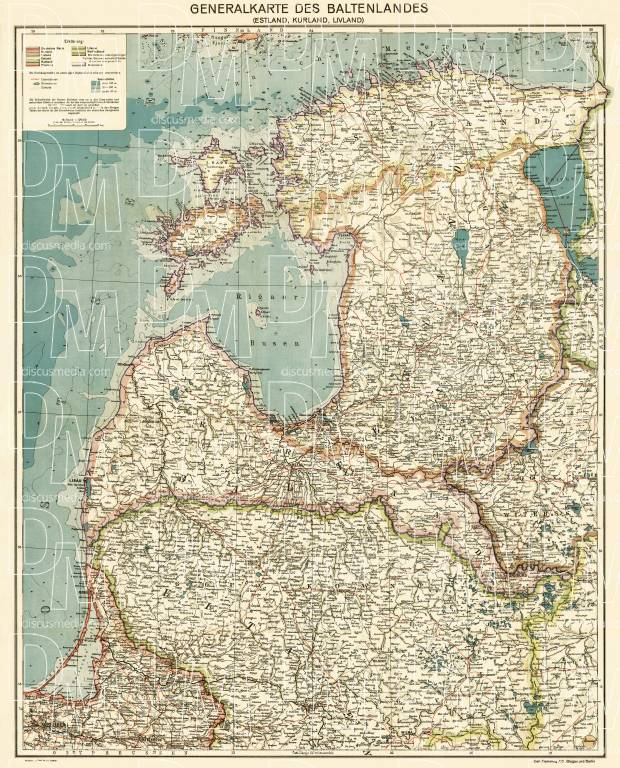 Lithuania on the general map of the Baltics (Generalkarte des Baltenlandes), about 1917. Use the zooming tool to explore in higher level of detail. Obtain as a quality print or high resolution image