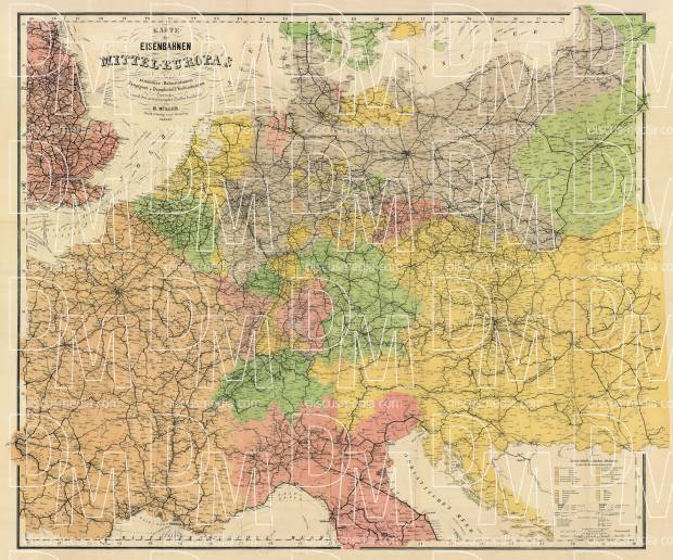 Netherlands map of the central Europe, 1884. Use the zooming tool to explore in higher level of detail. Obtain as a quality print or high resolution image