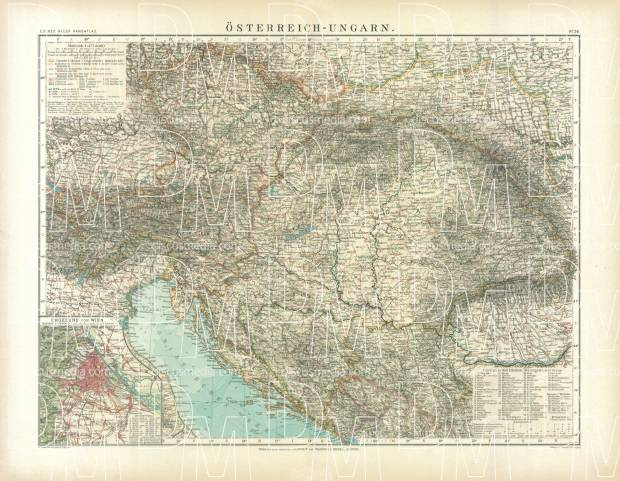 Slovenia on the general map of the Austro-Hungarian Empire, 1905. Use the zooming tool to explore in higher level of detail. Obtain as a quality print or high resolution image