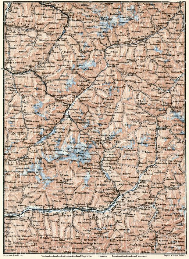 Swiss Graubünden on the map of Engadin Valley and Valtellina, 1909. Use the zooming tool to explore in higher level of detail. Obtain as a quality print or high resolution image