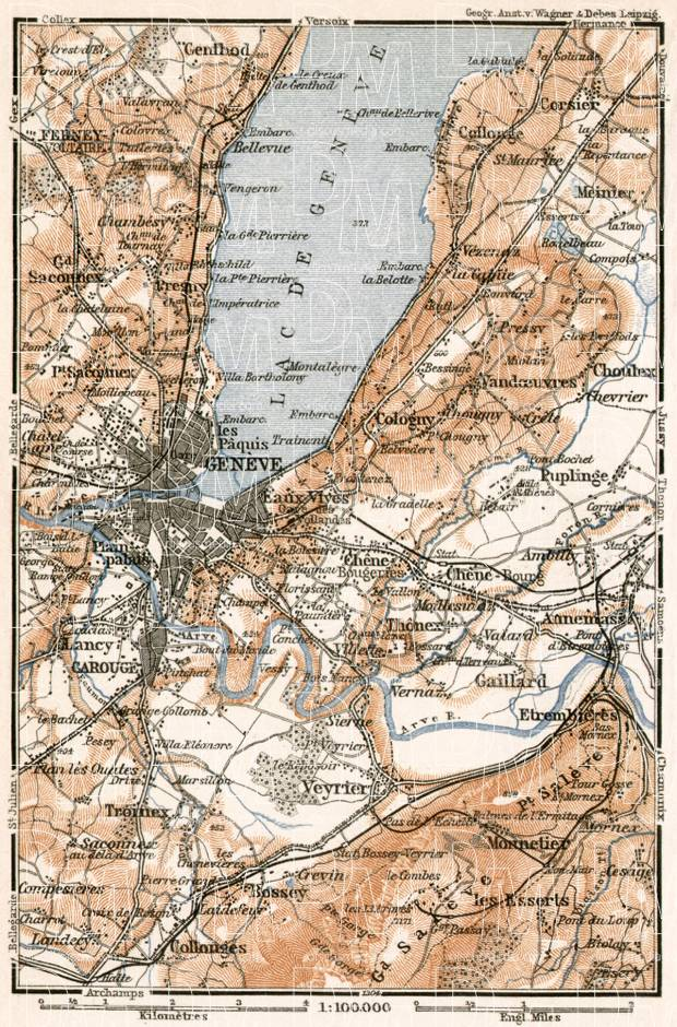 Romandy on the map of Geneva (Genf, Genève) and environs, 1902. Use the zooming tool to explore in higher level of detail. Obtain as a quality print or high resolution image