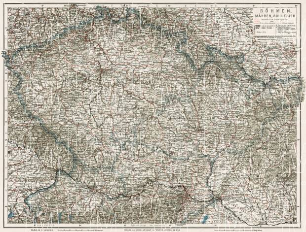 Slovakia on the general map of Bohemia, Moravia and Silesia, 1910. Use the zooming tool to explore in higher level of detail. Obtain as a quality print or high resolution image