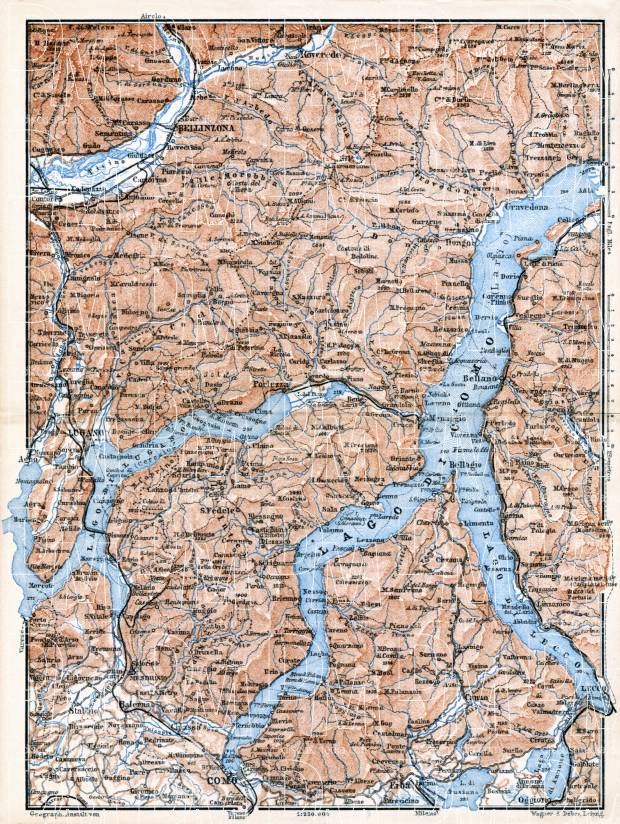 Old map of the vicinities of Lakes of Como and Lugano in 1897 Buy